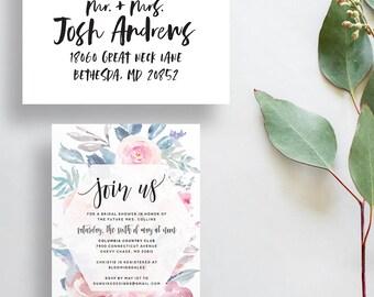 watercolor bridal shower invitations // floral party invitations // watercolor flowers // dusty blue pink // PRINTED invites // custom