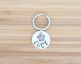 hand stamped keychain | custom dog name