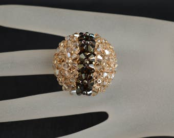 Swarovski crystal ball ring shade ab2x and crystal golden shadow
