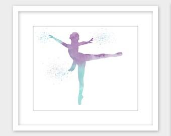 Ballerina Ballet Dancer Girl's Room Decor Printable Wall Art, Watercolor Splatter Nursery Art Print Instant Digital Download 11x14 8x10