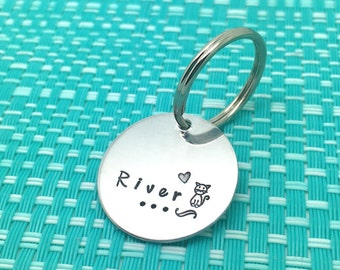 Cat Tag, Hand Stamped, ID Tag, Custom Cat Tag, Personalized Cat Tag, Cat Name Tag, Cat Collar, Cat ID Tag, Cat, Kitten, Hand Made