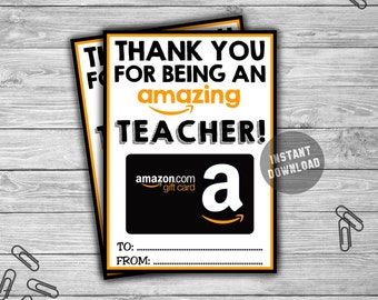 PRINTABLE Amazon Gift Card Holder - INSTANT DOWNLOAD - Thank You For Being Amazing Teacher Appreciation Coach Gift - Digital File