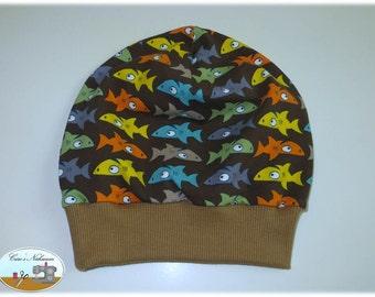 Beanie, Cap, KU 51-54, sharks fish brown beige