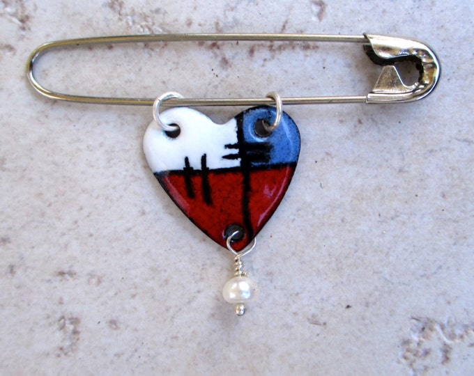 Red white and blue enamels heart pin with a freshwater pearl on a safety pin