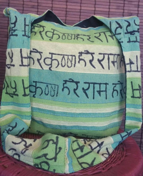 Gorgeous Green Sanskrit chants bag|sling bag|boho sling bag|ethnic sling bag|hobo sling bag|ethnic bags|bohemian bag|hippie bag|Green bag