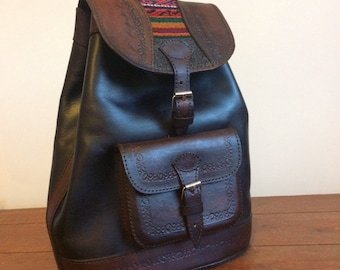 Roxanne leather rucksack/ backpack in two tone brown leather