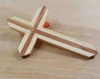 Wood wall cross made of red oak and pine. handmade wooden cross, medium