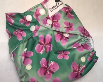 One size cloth diapers. OS cloth diaper, AI2 cloth diaper, custom print, Fireweed print