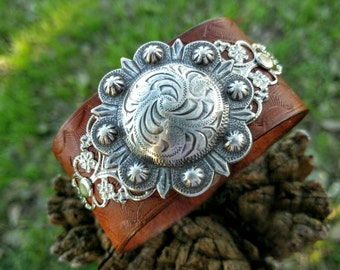 Beautiful Country Concho Leather Cuff Bracelet.