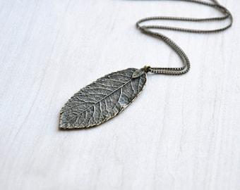 Leaf Pendant Necklace, Long necklace, Leaf necklace, Layering necklace, Boho Necklace, nature necklace