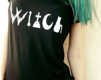 WITCH Hand Print Cotton/Tulle T-shirt