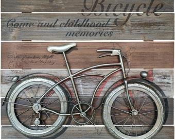 Vintage Schwinn bicycle bike 3D metal wall art on real wood sign, car collection, petroliana, gas & oil, man cave, garage, transportation