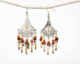 "Bohemian chandelier earrings - model ""Josephine 4 Gold & Brown"""