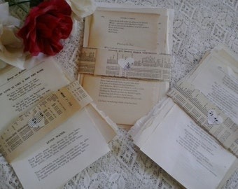 Vintage paper love poems romance poetry on pages from old books for art, craft, collage, decoupage. mixed media, card making, scrap booking