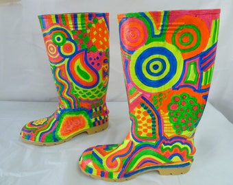 florescent hand painted wellie boots