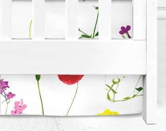 Wildflower Crib Skirt, floral nursery, baby girl, baby bedding, wildflower baby girl, floral crib skirt, floral bedding, baby girl nursery
