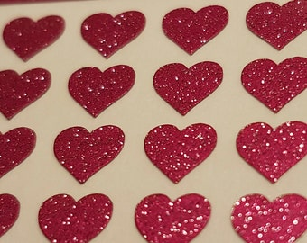 Heart Nail Stickers x 48. Nail Decals. Nail Art. Easy Peel & Stick. Glitter Colours. FREE UK SHIPPING.