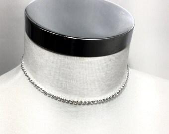 1 line Rhinestone Choker Necklace , Diamond Choker, Small Delicate Choker Necklace, BEST SELLER