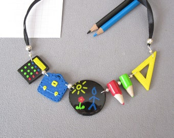 Necklace gift idea teacher memories of school theme school  black and multicolored in fimo polymer clay (hand-made) school necklace