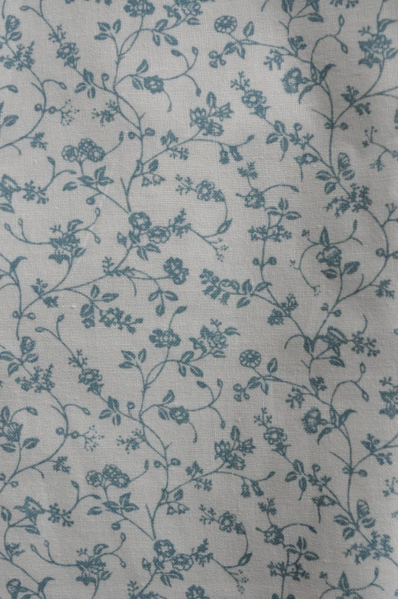 Vintage Laura Ashley Fabric Blue Floral 2 Metres 1976 From