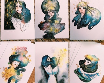 cosmic girls art prints set
