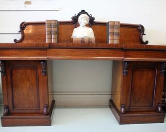Antique Victorian Mahogany Twin Pedestal Sideboard c.1850