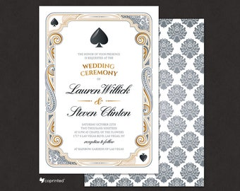 Casino Wedding Invitation, Las Vegas Wedding Invitation, vegas, poker, ace, heart, club, diamond, deck of cards invitation, blackjack card