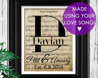 1st Year Anniversary Gift on Velvet Paper | Choose Your Song Sheet Music | Museum Quality Print | First Year Anniversary Paper Gift for men