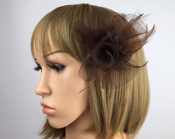 Brown fascinator on clip corsage brooch coffee brown wedding fascinator events occasion races