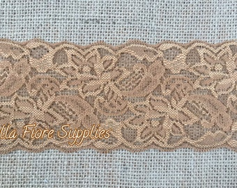 Toffee Stretch Lace Trim- 3 Inch- Tan Stretch Lace- Wide Stretch Lace- Wholesale Lace- DIY Headband