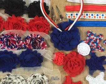 4th of July Headband Kit- Red White Blue Stars Headband Kit- 12 DIY Headbands- Baby Shower Headband Kit- Craft Show- Large Headband Kit