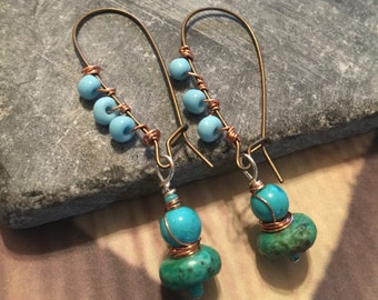 Wire wrapped turquoise drop earring with blue seed beads