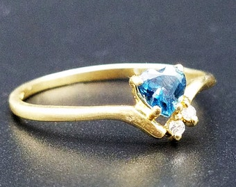 Vintage 1/4  carat Heart Shape Blue Topaz  & Diamond Ring in 14K Yellow Gold -  Size 7.5, Resizable