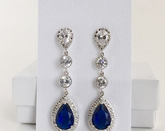 Blue Sapphire Bridal Earrings Blue Cubic Zirconia Earrings Wedding Crystal Earrings Wedding Long Earrings Sapphire Blue Teardrop Earrings