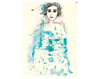 Woman portrait figure girl teen face blue teal white black painting Wall art home decor Artwork Birthday Gift for women sister girl bedroom