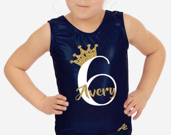 Birthday Gymnastics leotard with age and name in glitter