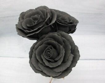 Black roses Halloween For hair With flowers Sugar skull Floral hair pins Black wedding Rose pins Gothic hair clip Halloween accessory Dark