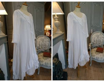 DRESS BERTILLE white, romantic gohique, hippie Gypsy, shabby chic,