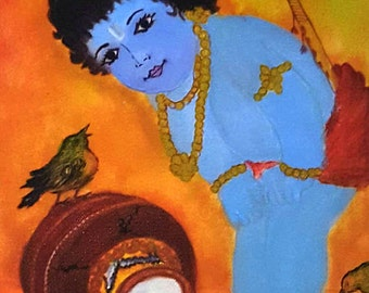 BABY KRISHNA, God of Good Fortune,Matte finish canvas Print, premium grade, Reiki energized.