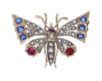 Antique Victorian Gem Set Butterfly Brooch