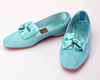 Daniel Green 1960s Comfy Turquoise Slippers BNIB