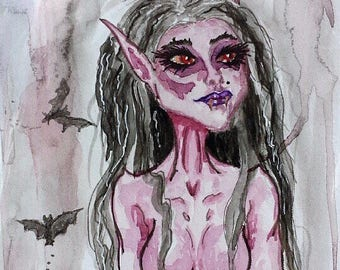 "Original watercolor vampire painting ""Clare"""