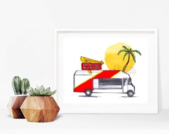 DIGITAL DOWNLOAD, Instant Download, In and Out, Kitchen Decor, Los Angeles Art, Digital Art, Food Art, Food Truck, Wall Art, Art Print