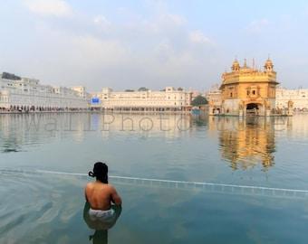 India Photography, Sikh in Water, Holy Lake, Golden Temple, Amritsar, Sikhism, Sikh Print Art, Fine Art Photography, India Print Art, Water