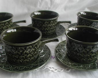 Set of 5 Tams Soup Bowls and Saucers Handled Soup Bowls Green Set