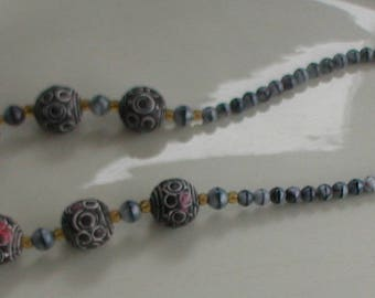 Vintage Ceramic and Glass Beads Grey Tones Tribal Style Necklace Screw Clasp