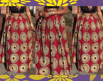 Red Record Maxi Skirt, Women African Clothing, Ankara Maxi Skirt, African Maxi Skirt, Ankara Clothing