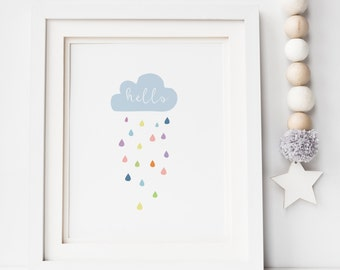 Rain cloud Print - Cloud Print - Nursery Print