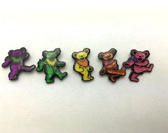 20 SETS Miniature Glitter Dancing Bear Hat Pins, Grateful Dead, Lapel Pin, Bulk Pack, Wholesale Lot, Deadhead, Hippie, Dead & Co, Rainbow