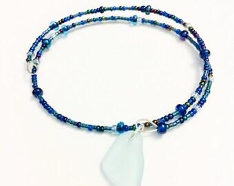 Blue Sea Foam Sea Glass Silver Bracelet Blue Green Seed Beads